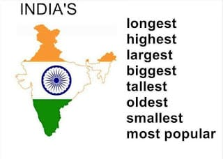 largest longest highest and smallest in india
